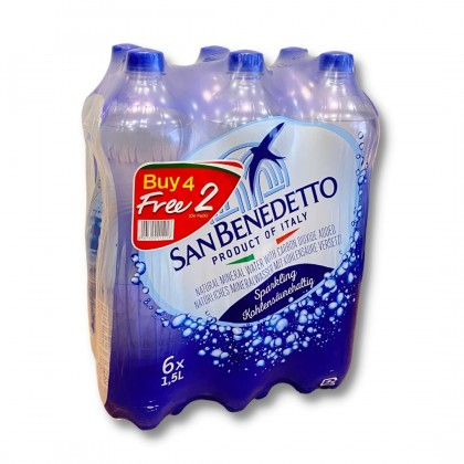 San Benedetto Sparkling Natural Mineral Water 6x1.5L (Buy 4 Free 2) Promo Stock