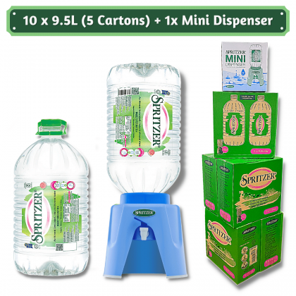 Spritzer Natural Mineral Water 2x9.5L - 5 cartons + 1x Mini Dispenser Package